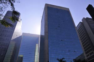 Urban scene with building on Avenida Paulista - Sao Paulo - Brazil